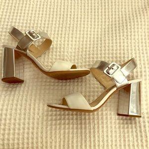 Prada white silver sandal